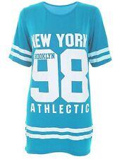 Ladies USA American Varsity Baseball Newyork98 Oversize Baggy T Shirt Top Dress UK 18-20 Turquise
