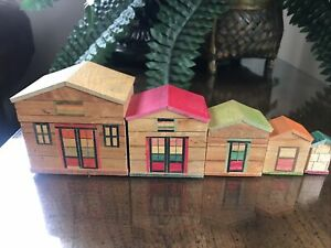 Vintage Mini  HOUSES Wood Nesting Storage Boxes Trinket Inlay