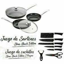 Maxell Power Set de 3 Sartenes 20/24/28cm, 2 Tapas y 7 Cuchillos - Negros (8436592469710)