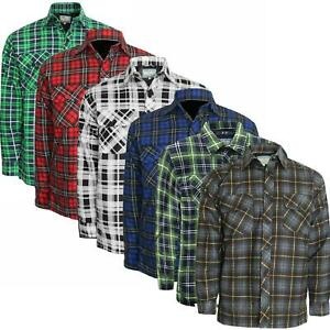 Mens Flannel Padded Work Shirt Quilted Fleece Lined Lumberjack Jacket Big Size