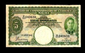 MALAYA 5 Dollars P-12 1941 King George V I RARE Malaysia Currency Bill BANK NOTE