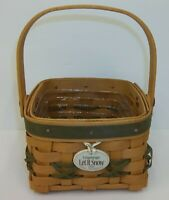 Longaberger 2000 Tree Trimming Green Let It Snow Christmas Basket with Tie-On