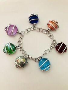STERLING SILVER CHARM BRACELET with 7 DANGLING CRYSTAL BALLS
