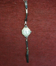 14K WHITE GOLD FILLED ORNATE VINTAGE LADIES WRISTWATCH -RUNS