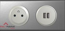 Prise 2P+T affl + double USB Céliane inox 67111+67462+68411+68556+80252+69102
