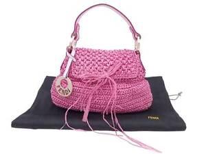 Auth FENDI Raffia Straw Mini Handbag Pink/White/Gold Straw/Leather - e49653f