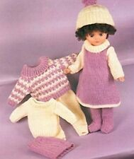 """KNITTING PATTERN DOLLS CLOTHES 16-20""""  DK DRESS TOPS TROUSERS TIGHTS SKIRT HAT"""