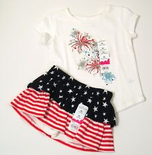 Girls Summer Outfit 2T Top/ Skort Scooter Americana Red White Blue Fireworks NWT