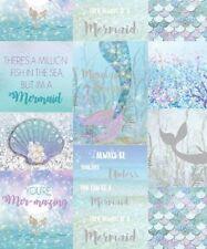 Arthouse Mermaid Glitter Ice Blue Shells Typography Girls Kid Wallpaper 698304