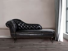 Couch Schwarz, Sofa, Recamiere, Relaxliege, Liegestuhl, Chesterfield, Kunstleder