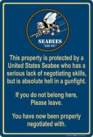 "Property Protected by Seabee Sailor U.S. Navy 8"" x 12"" Aluminum Metal Sign"