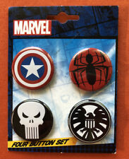 Marvel 4 Button Set The Punisher Captain America Spider-Man S.H.I.E.L.D. New Pin