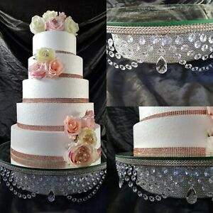 Glas crystal rhinestone LED illuminated wedding cake  stand, pendant drap  bling