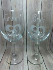 Jack & Sally Wine Glasses - Nightmare Before Christmas Wedding - Bride and Groom