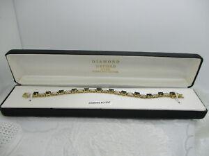 "18KT GOLD OVER 925 STERLING SILVER SAPPHIRE DIAMOND ACCENT TENNIS BRACELET 7"""