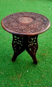 """Handmade Carved Wooden Table Moroccan Planter Stand Indian Holder Floral 17 """""""