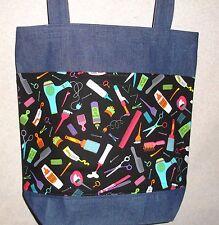 NEW Handmade Large Hair Hairdresser Salon Stylist Gift Denim Tote Bag