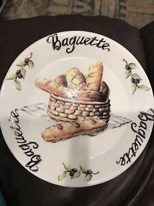 """BELLA CASA by GANZ~Baguette and Olives 5"""" Decorative Plate"""