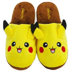 Pokemon Pikachu Hausschuhe Schlappen Pantoffeln Slipper aus Plüsch Cosplay, Gelb