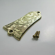 Hand engraved grass pattern handmade brass truss rod cover fits to Gibson guitar