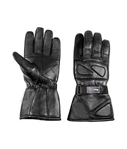 Men's Leather Snowmobile ATV Driving Glove Gauntlet Motorcycle Thermal Insulated