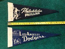 Vintage 1960's Los Angeles Dodgers Baseball Mini Felt Pennant 4 x 9 Inches