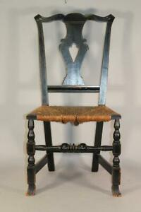 RARE 18TH C CT COUNTRY CHIPPENDALE CHAIR BOLD SPANISH FEET IN OLD BLACK PAINT