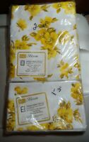 Sears Roebuck Perma Prest Parcale Yellow Blossom Twin Flat sheet two pillow cas