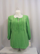 Women Top Plus Size 0X Solid Green CHARTER CLUB 3/4 Sleeves Bibbed Tied Front