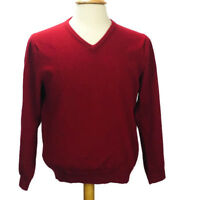 J CREW Pull Over Red 100% Merino Wool Sweater Cardigan V Neck L/S Men Sz L