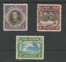 COOK ISLANDS ,NEW ZEALAND SG127-9 THE 1938 GVI SET OF 3 MINT CAT £85