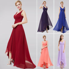 V-Neck Rhinestones Ruched Bust Hi-Lo Evening Party Mother of the Bride Dress