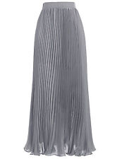 HOT !SALE! Women Girl Chiffon Pleated Long Maxi Skirt Vintage Party Dress 4Color