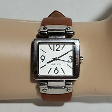 Nine West NW-1339 Women's Square Silver Tone Honey Strap Watch with New battery