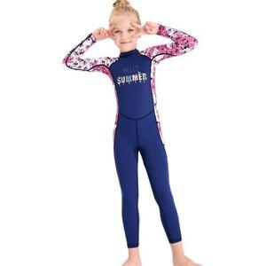 UPF50+ Sun Protection One Piece Swimwear Girls Long Sleeve Rash Guards Kids 525