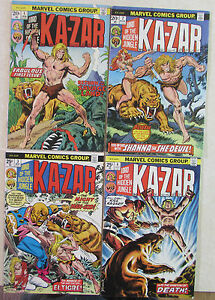 MARVEL COMICS - KA-ZAR - LOT OF 4 BRONZE AGE COMICS  -1970s - #s 1-4 -HIGH GRADE