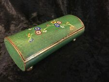 ANTIQUE CHINESE CLOISONNE ENAMEL FLORAL HUMIDOR FOOTED TUBE SHAPE JAR BOX
