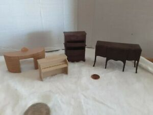 Vintage 1940's Doll House Furniture 4 piece Dressers Desk Piano