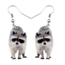 Acrylic Sweet Raccoon Ringtail Earrings Drop Dangle Animal Jewelry For Women Kid