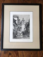 Original Etching Paul Geissler White Tower Rothenburg Germany 1940s Signed Print