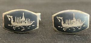 Vintage Siamese Ship Sterling Silver Cuff Links, Siam - Excellent Condition!
