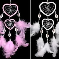 Handmade Heart Dream Catcher with Feather Car Wall Hanging Decor Ornament 6Color