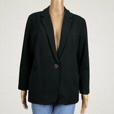Chico's One Button Tailored Stretch Knit Suit Blazer Jacket 1 MEDIUM 8 10 Black