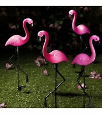 Set Of 4 Solar Flamingo's A Great Garden Light Each Set On A Stake For Easy Use.