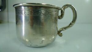 Antique Webster 45 Grams Sterling Silver Baby Cup Art Deco Engraving / Monogram
