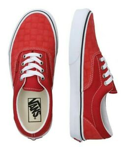 Vans Era Debossed Checkers Skate Shoes Women's Size 8 Pompeian Red