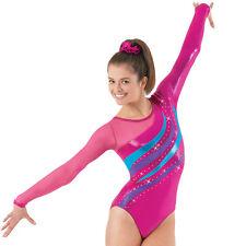 NEW Foil Metallic Rhinestones Long Sleeve LS Mesh Gymnastics Competition Leotard