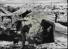 Corporals Wortman & Smith Chop Wood for Leanto Shelter in Korea Press Photo