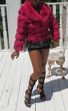 New Designer Custom runway Amethyst pink fox Fur Coat Bolero jacket XS 0-2