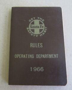 Old Vintage 1966 - SANTA FE - Railroad - RULE BOOK - Operating Dept.
